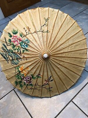 Vintage Oriental Paper And Wood Parasol