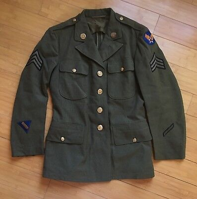 WWII 1942 US Wool Service Coat Size 38S WW2 Jacket Uniform AAC Army Air Corps
