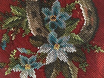 Victorian beadwork tapestry  embroidery 2 textiles for a footstool needs repair