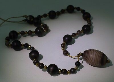 Large Ancient Carved Agate Bead Necklace - No Reserve 01