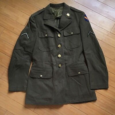 WWII 1942 US Wool Service Coat Size 38L WW2 Jacket Uniform AAC Army Air Corps