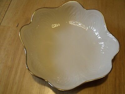 """Lenox 8"""" Ivory Scalloped Bowl-Dish with Gold Trim"""