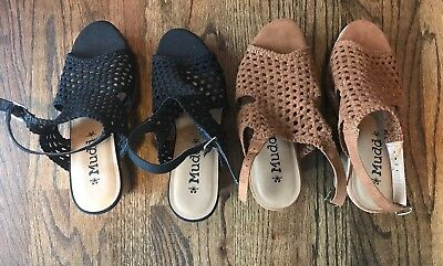 Women's Lot Of 2 Mudd ( Black And Tan ) Wedge Shoes Size 10 NWOB