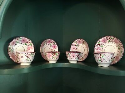 Antique Pink Lustreware Handleless No Handles Teacups Saucers English