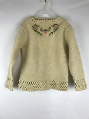 Vtg Girls 100% Virgin Wool Sweater Hand Embroidered Size 8-10
