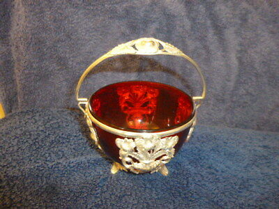 Cranberry glass Suger bowl