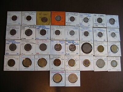 Lot of 34 Dominican Republic Coins, Beautiful Set! 1937 - 2010, some silver!