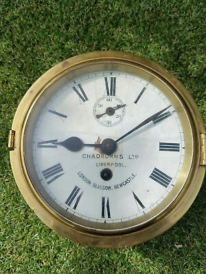 Antique Admiralty Brass Ships Bulkhead Clock Enamel Face Bevelled Glass