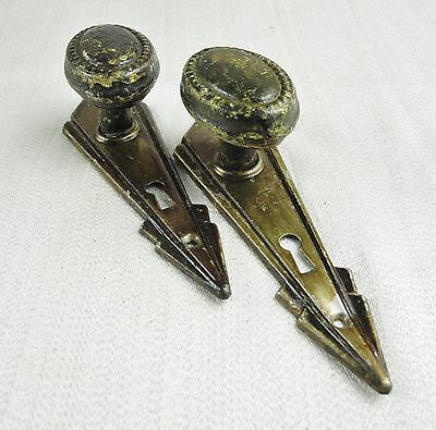 Antique Victorian Brass Door Knobs & 2 Back Plates ~ Oval ~ Beaded