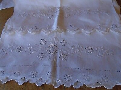 Stunning  Pair Of Vintage Pure Irish Linen  Pillowcases - Hand Embroidered