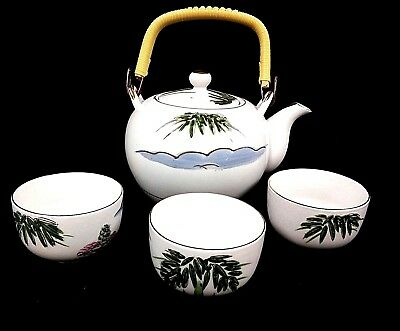 Japanese Kutani Teapot & Cups White with Bamboo and Village Design Vintage
