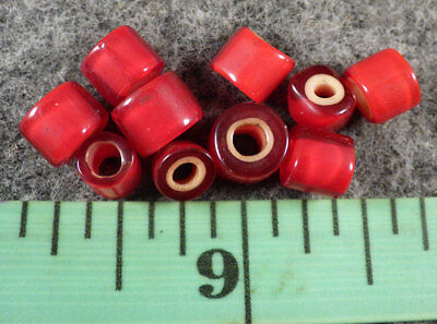 10 Big Original Huron Indian Red Glass French Whiteheart Trade Beads Good Patina