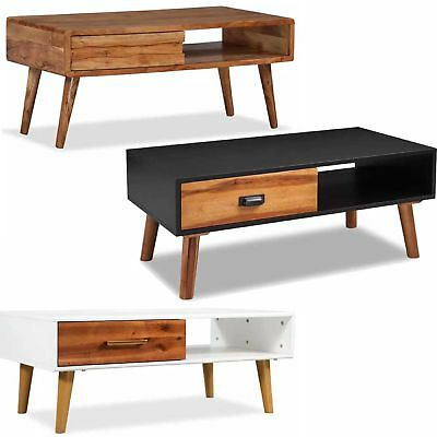 Solid Acacia Wood Coffee Table with Storage Drawer Living Room Home Furniture UK