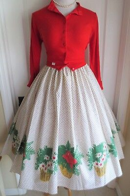 vintage 50s border fabric skirt rose daisy basket with red NOS sweater full