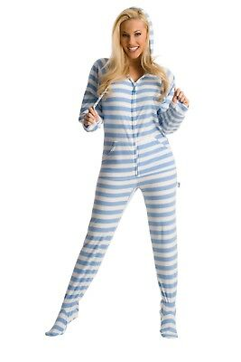 Soft Baby Blue & Ivory Stripes Footed Pajamas for Men & Women - Adult Footie PJs