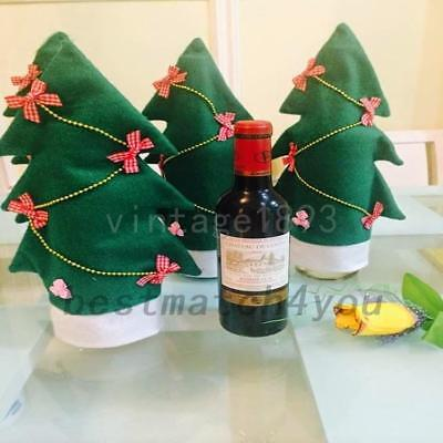 Xmas Christmas Tree Decorations Bowknot Wine Bottle Covers Dinner Party AU