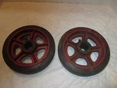 Two Vintage  red Fairbanks warehouse 7 Inch cast Iron  Rubber Wheels 507