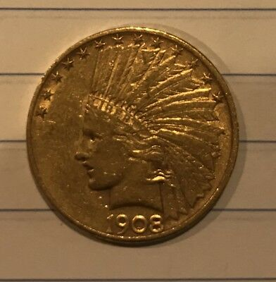 1908 $10 Gold Eagle Coin Indian with Motto