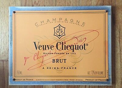 Veuve Clicquot Brut Champagne French France FRA Vintage Poster Framed Steel Sign
