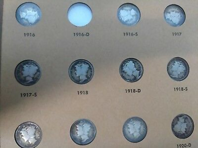 Book Silver Mercury Dimes No 1916/d all the other coins circulated