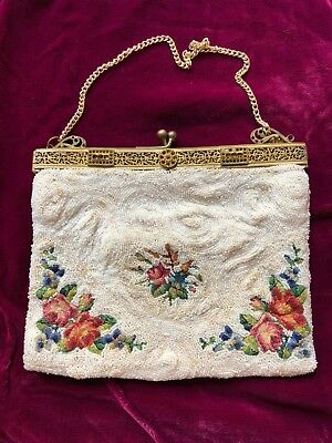 1920's -30s Vntg Clutch HAND MADE Embroidered Petit Point FLOWERS w/ mirror