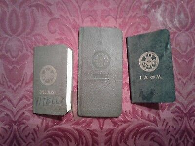 Vintage Lot of 3 International Assn of Machinists Union Dues Stamp Book