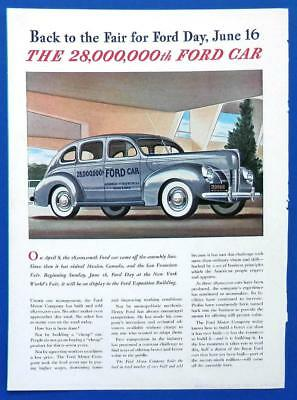 1940 FORD V-8 New Yorker magazine AD with NYWF World's Fair MAP