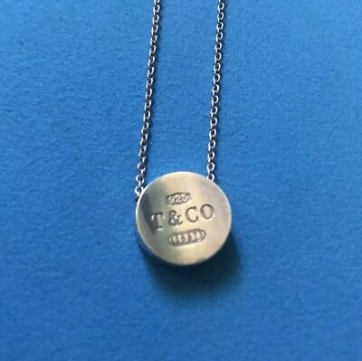 Authentic Tiffany And Co Concave Pendant And Chain PRE-OWNED FREE SHIPPING