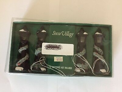 Snow Village Battery Operated Lamp Posts New In Box