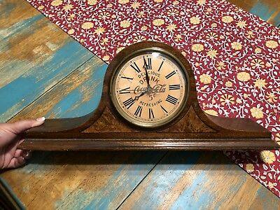 Coca Cola 5 Cent Antique Vintage Rare Wooden Mantel Clock Hammond 1920's