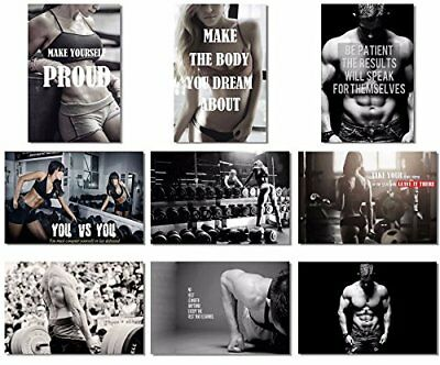 9x Poster Fabric Bodybuilding Men Girl Fitness Workout Quotes Motivational Gym