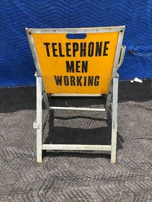 Vintage Bell Telephone System MEN WORKING Industrial Sign Traffic Automotive USA