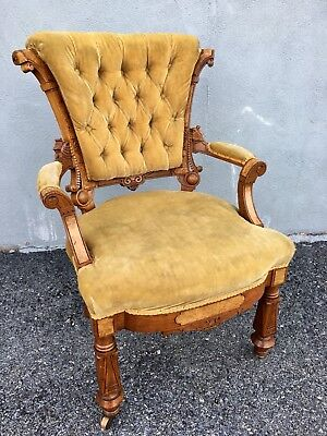 Victorian Carved Parlor Chair 1870s
