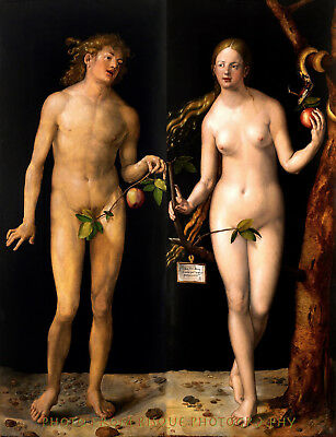 "Nude Adam and Eve 8.5x11"" Photo Print Albrecht Durer Classic Painting Fine Art"