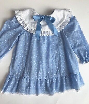 Vintage Evy Baby dress blue 18 mon eyelet collar USA made long sleeve lace