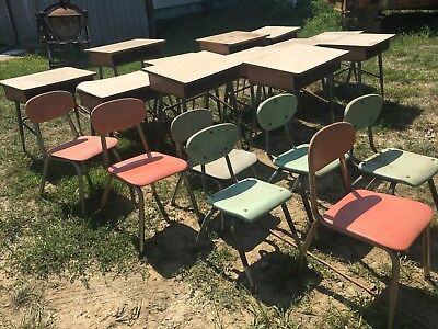 1 Vintage Mid Century Student School Steel Desk Chairs Tables YOUR CHOICE 1