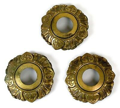 Vintage Art Nouveau Escutcheon Gold Gilt Door Knob Cover Plate Set of 3