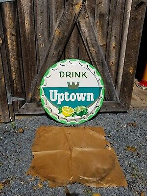 NOS Drink Uptown Bottle Cap Sign. 30in. Painted Metal. Clean!
