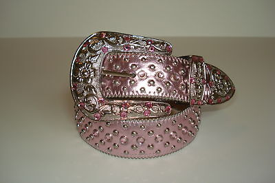 Western Rhinestone Pink Leather Belt Crystal Buckle S