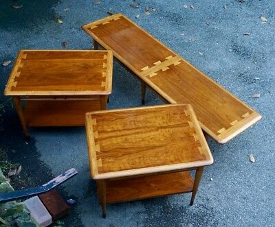 Vtg MCM Lane Acclaim Lot 2 End Tables & 6 Foot! Bench Coffee Table Danish Style