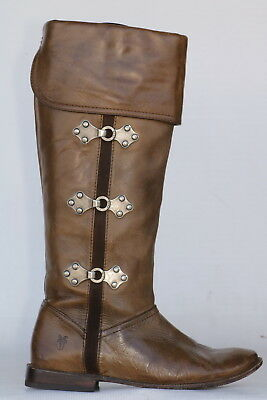 FRYE PAIGE CLOVERTAB CUFF 77480 Knee high leather riding boots 7 B New Heels!