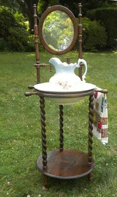 Antique Vintage Wood Wash Basin Stand W/ Mirror Candle Holders Bowl & Pitcher
