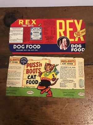 Lot Of 2 - Vintage 1940's - Rex Dog Food & Puss N Boots Cat Food Labels