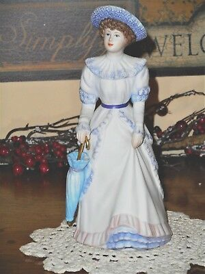 Home Interiors Penelope  porcelain figurine lovely proper lady holding umbrella