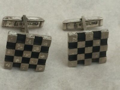 Vintage Mid Century Modern Sterling Silver Checker Board Cufflinks Signed NS