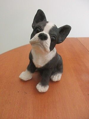 VINTAGE 1984 UDC CLASSIC CRITTERS Large BOSTON TERRIER w/Glass Eyes
