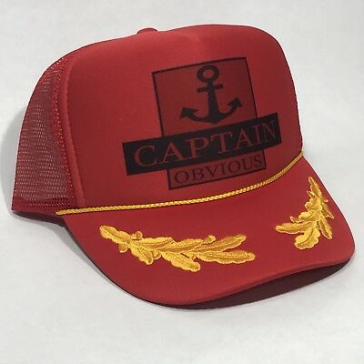 46a37d77 Captain Obvious Boating Trucker Hat Vintage Cruise Lake Beach Party  Snapback Cap