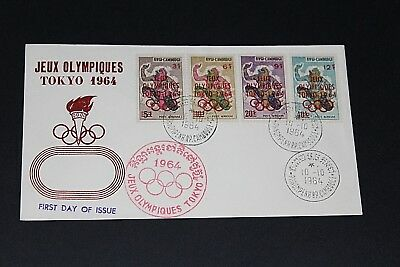 Cambodia 1964 Tokyo Olympics Set Of 4 Red O/prints  First Day Cover Ex Cond