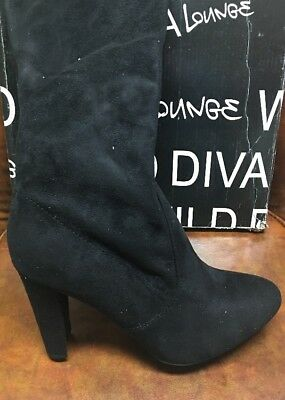 02c0eb7aace WILD DIVA LOUNGE AMAYA Womens Over The Knee Boots Black Size 9 US