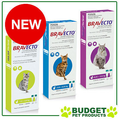 Bravecto Tick Flea 3 Month Spot On For Cats 2 Doses All Sizes FREE SHIPPING